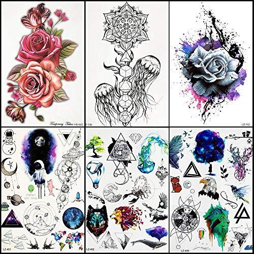 Autoadesivo del tatuaggio temporaneo petto da donna acquerello fiore tatuaggio falso meduse nere uomini braccio arte tatuaggi impermeabili rose
