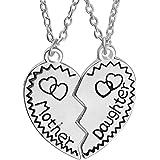 LUOEM, set di collane madre e figlia, regalo per la festa della mamma, ciondoli a puzzle con cuore spezzato in due pezzi comb