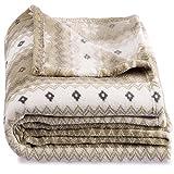CelinaTex Schneestern, XXL Kuscheldecke Sterne, weiß Creme braun beige 200 x 220 cm, Fleecedecken kuschel weich flauschig, Plaid 5001398