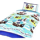 Ship Ahoy - Juego de fundas nórdico/edredón cama individual para niños. (Cama de 90/Multicolor)