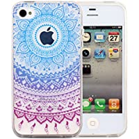 JIAXIUFEN teléfono caso cubrir volver piel protectora Shell Carcasas Funda para iPhone 4 4S - Blue Purple Tribal Mandala