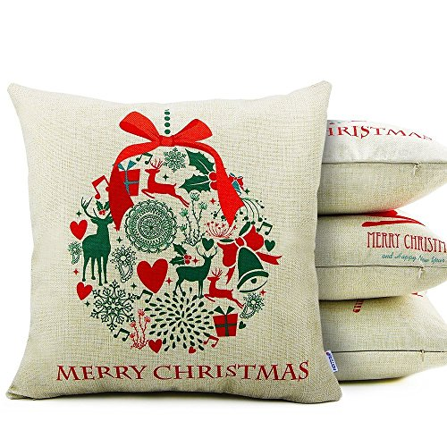 Homar Throw Pillow Covers – Merry Christmas Print Pattern Decorative Pillow Case – Cotton Linen Square Pillowcases Cushion Cover Standard Size 18 x 18 for Couch Sofa Bed Automotive Seat Home Decor