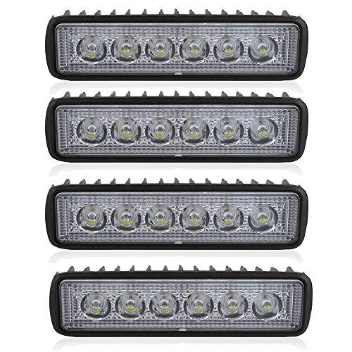 4 Stück 18W LED Arbeitsscheinwerfer Auto KFZ Scheinwerfer LED Beleuchtung Arbeitsleuchte Offroad Flutlicht Flood Weißes Licht 12-24V 6500K Kaltes Weiß