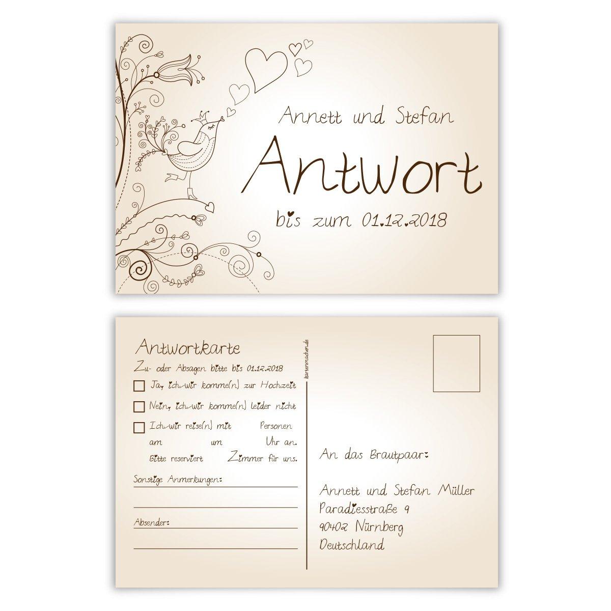 30 X Antwortkarte Hochzeit Hochzeitskarten Antwort Postkarte
