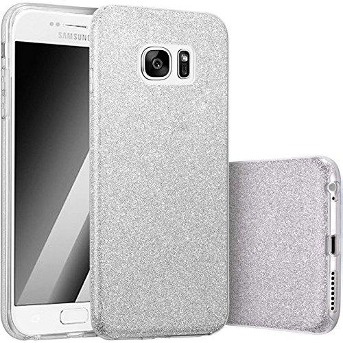 Hot Pink Hard Case (FINOO   Samsung Galaxy S7 Rundum 3 in 1 Glitzer Bling Bling Handy-Hülle   Silikon Schutz-hülle + Glitzer + PP Hülle   Weicher TPU Bumper Case Cover   Silber)