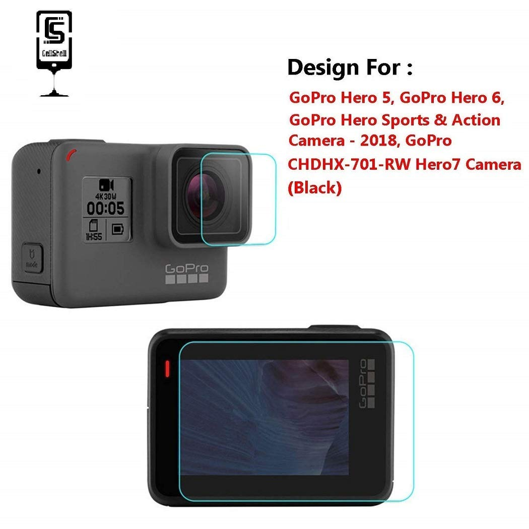 Cellshell 0.3mm Pro+ Tempered Glass Screen Protector Front and Back Screen for GoPro Hero 5, GoPro Hero 6, GoPro Hero 7 Black 2018