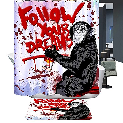 Harson&Jane Duschvorhang mit Orang-Utans, Follow your Dreams Motiv, 180 x 200 cm thumbnail