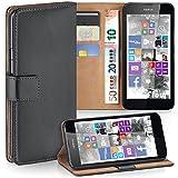 moex Nokia Lumia 630 | Hülle Dunkel-Grau mit Karten-Fach 360° Book Klapp-Hülle Handytasche Kunst-Leder Handyhülle für Nokia Lumia 630/635 Dual SIM Case Flip Cover Schutzhülle Tasche