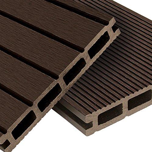 WPC Terrassendielen Basic Line - Komplett-Set Dunkelbraun | 12m² (4m x 3m) Holz-Brett Dielen | Boden-Fliesen + Unterkonstruktion & Clips | Balkon Boden-Belag + rutschfest + witterungsbeständig