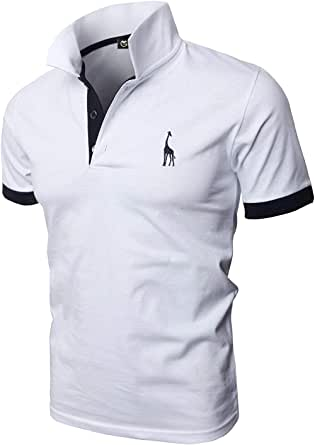 GHYUGR Polo Uomo Basic Manica Corta Tennis Golf T-Shirt Ricami Fulvi Maglietta Poloshirt Camicia