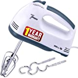 iBELL IBLWHITES03NEW Whites Electric Hand Mixer, Blender, Beater and Cream Maker with 7 Speed Control, 2 Dough Hooks and 2 Be