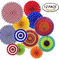 12pcs colgante Decoracion Fiesta Paper fan faroles, fiesta mexicana / Carnaval / Kids Party /