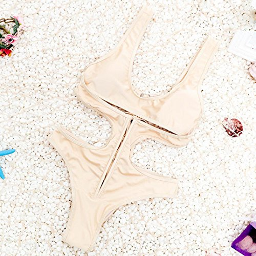 WOCACHI Damen Bikinis Hohler Verband Bikini Badeanzug schnüren sich oben Badebekleidung Hollow Bandage Bikini Swimsuit Lace Up Swimwear Khaki