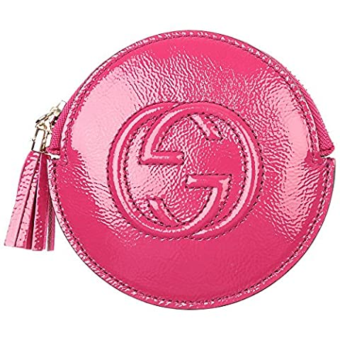 Gucci 'Soho' Magenta Pink Patent Leather Zip Around Coin Purse Pouch 337946. Handcrafted in Italy.