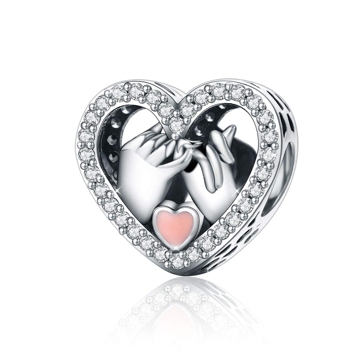 Abalorios de plata de ley 925 con forma de corazón compatible con pulseras Pandora