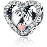 Abalorios de plata de ley 925 para pulsera Pandora, diseño de corazón Estilo 1.
