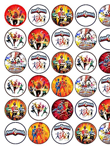 Image of 30 Assorted Power Rangers Premium Rice Paper Cake Toppers
