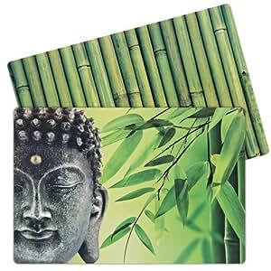 leewadee set de 12 sets de table en plastique lavable en bambou zen buddha cuisine. Black Bedroom Furniture Sets. Home Design Ideas