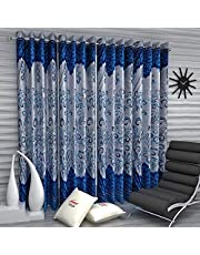 Home Sizzler 4 Piece Eyelet Polyester Door Curtain Set - 7ft
