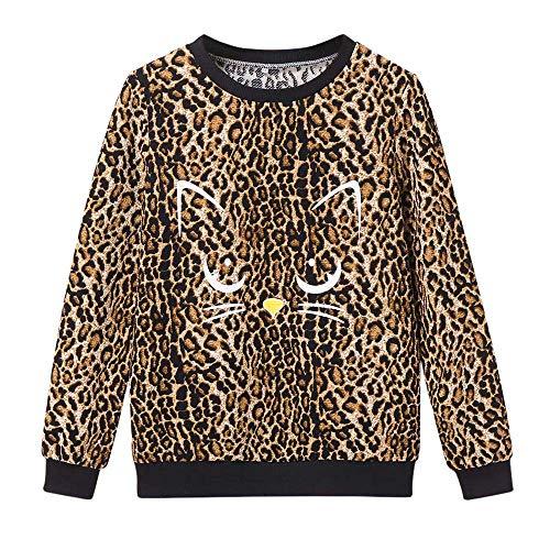 Preisvergleich Produktbild TianWlio Frauen Langarmshirt Bluse Hoodie Pullover Langarmshirt Kapuzenpullover Sweatshirt Herbst Winter Leopard Shirt Print Katze Pullover Rundhalsausschnitt Langarm Bluse Top