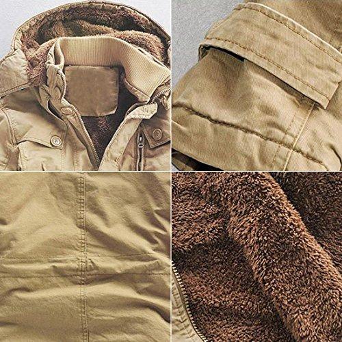 GWELL Herren Wintermantel mit Fleecefutter Baumwolle Abnehmbare Kapuze Mantel Steppmantel Übergangsmantel Lässig Große Größen Khaki