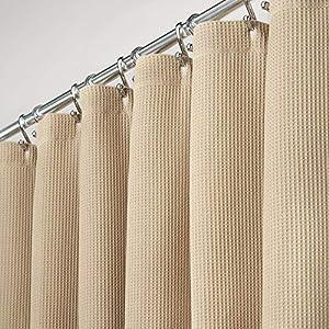 mDesign Cortinas para baño 100% algodón – Cortinas de ducha bonitas y estructuradas – Cortinas de baño de diseño y de cuidado fácil – beige