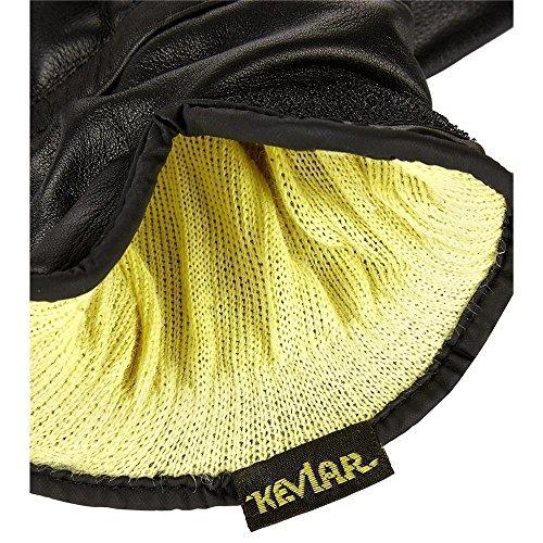 Tactical Einsatzhandschuhe mit Kevlar Schnittschutz Glattlederhandschuh in verschiedenen Größen Schwarz XXL - 2