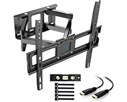 PERLESMITH TV Wall Mount, Swivelling / Tilting Wall Mount for 32 - 55 Inch Flat & Curved TV or Monitor up to 45 kg, Max. VESA
