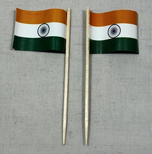 Party-Picker Flagge Indien Papierfähnchen in Spitzenqualität 50 Stück Beutel
