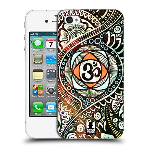 Head Case Designs Rosa Farbspritzer Om Zeichen Ruckseite Hülle für Apple iPhone 4 / 4S Popfarben