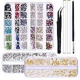 NICOLE DIARY Rhinestones del arte del clavo Piedras de gemas del clavo Kit del diseño del brillo con las herramientas de la recogida para los accesorios de los suministros del arte del clavo