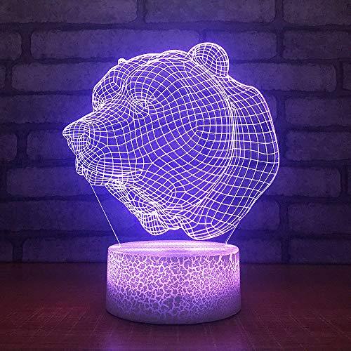 Ydwdcreative Geschenke Dekorative Lampe 3D Decor Led Vision Bär Kopf Schreibtisch Usb 7 Farben Ändern Baby Schlafen Tier Nachtlicht -