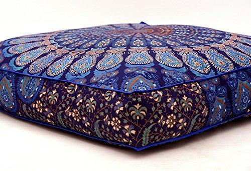 Indian Feder Mandala Boden Kissen quadratisch osmanischen Pouf Sofa Übergroße Kissenbezug Baumwolle Platz Ottoman Puffs Hunde/Haustiere Bett Verkauft von bhagyoday Fashions Square Outdoor-sitzkissen