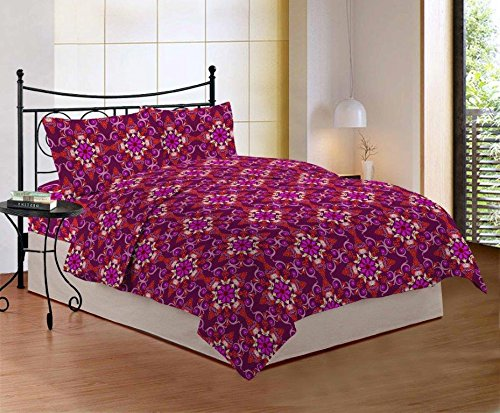 Bombay Dyeing Purple And Carrot Color Floral Printed Design 104 TC Cotton Double Bedsheet with 2 Pillow Covers  available at amazon for Rs.699