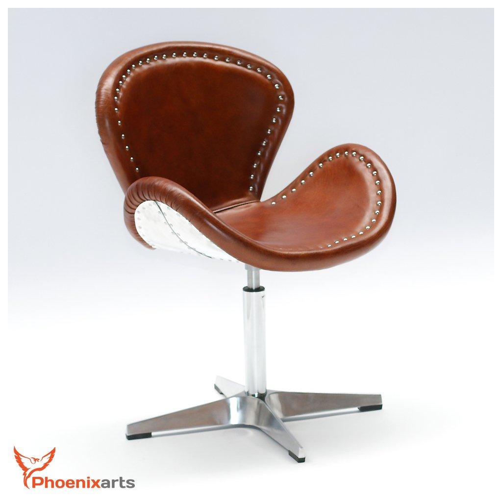 Phoenixarts Echtleder Vintage Ledersessel Braun Design Sessel Loft Drehsessel Lounge Clubsessel Möbel NEU 537