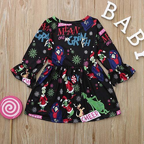 (Oyedens Kinder Langarm Kleid Trompete ärmel Weihnachten Kleid Weihnachtskleinkind scherzt Baby-Mädchen-Karikatur-Prinzessin Dress Clothes Outfits (12M-4T)