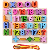Univocean Wooden Alphabet Counting Numbers Combo Boards - Math English Learning Tools for Kids