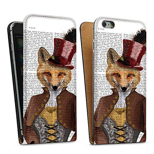 """artboxONE Handyhülle Apple iPhone 6, schwarz Hard-Case Handyhülle """"Fürst Fuchs Case"""" - Tiere - Smartphone Case mit Kunstdruck hochwertiges Handycover von FabFunky Downflip Case schwarz"""