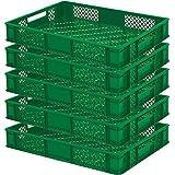 5 x Eurobehälter/Bäckerkisten, LxBxH 600 x 400 x 90 mm, Inhalt 15 Liter, grün