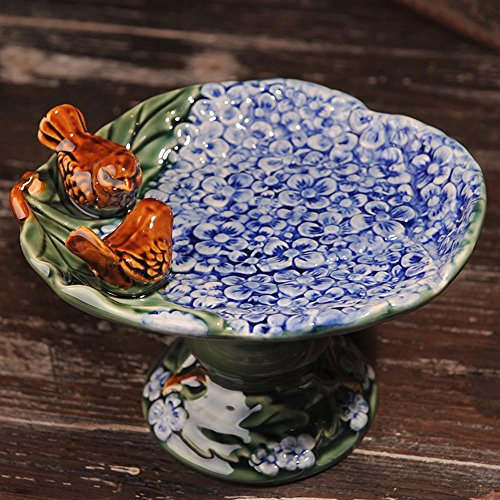 ssby-rural Home Dekoration Keramik Ofen Glasur Soap Box Seifenschale Aschenbecher Bird Teller Ornaments, keramik, Blue/Green/Yellow, B (Soap Teller)