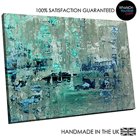 Small Framed Canvas Print - Modern Wall Art - HD Quality Picture - 100% Guaranteed - teal grey paint large - Living & Bedroom Home DÃcor with Easy Hang Guide - AB1465 30cm x 20cm - WOYW