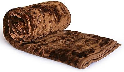 Little India Luxurious Embossed Korean Mink Microfibre Double Blanket - Brown