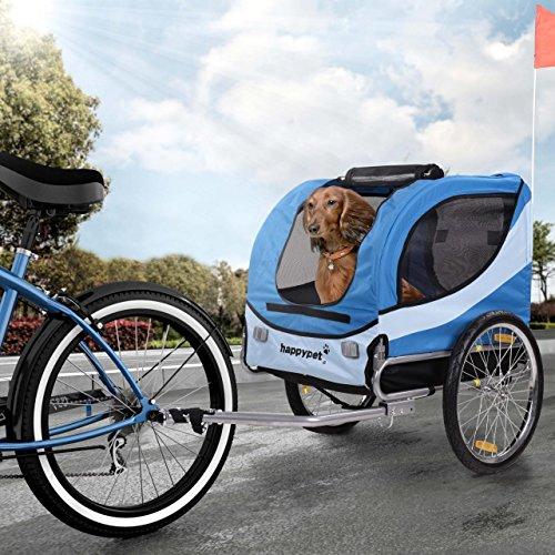 HAPPYPET Fahrrad-Anhänger für Hunde M Hundeanhänger Hundefahrradanhänger Hundetransporter Regenschutz inkl. Anhängerkupplung Regenschutz NAVY BLAU