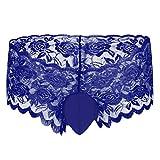 Männer Spitzen Unterwäsche Sissy Herren Spitze Slips G-Strings Tanga Erotik Dessous Unterhose Briefs Herren Strumpfband Unterwäsche mit Spitze Rüsche Sexy Kostüm Nachtwäsche Blau