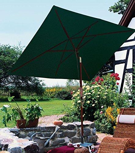 OUTDOOR KLASSIK - SEILZUG - HOLZ- SONNENSCHIRM - 100 % POLYESTER ca. 270 g/m² - ohne Volant, mit Windöffnung - Modell : TANGER - ZANGENBERG - GERMANY - RECHTECK - 200 x 150 cm - 4 teilig - 3 Farben - bei Bestellung Farbe angeben : NATUR - GRÜN - VERTRIEB - Holly ® Produkte STABIELO ® - holly sunshade - Im Preis sind anteilige Versandkosten enthalten ! - (Teak-holz Rechteck)