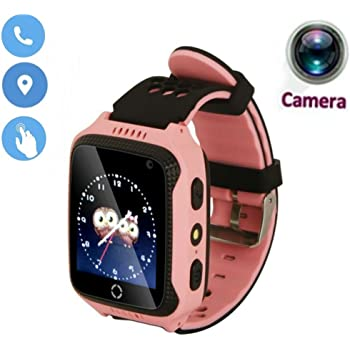 1.44 '' Touch Smart Watch Bambini Tefelono Orologio Intelligente con SIM Card Slot,Anti-Perso Localizzatore SOS Call Finder Kids Smart Bracciale con Torcia Elettrica Per iOS Android,M05 (Rosa)