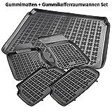 AME Automatten-Experts 200319 5-teiliges Set: Auto-Gummimatten + Gummi-Kofferraumwanne mit Schmutzrand