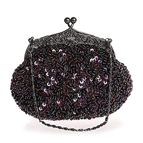 Women Evening Clutches Fully Sequined Mesh Beaded Antique Style Wedding Formal Cocktail Clutch Purse (Purple)
