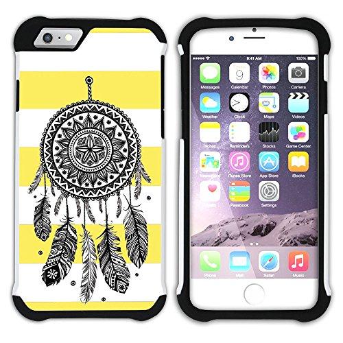 Graphic4You Traumfänger Linien Muster (Wasserblau) Hart + Weiche Kratzfeste Hülle Case Schale Tasche Schutzhülle für Apple iPhone 6 Plus / 6S Plus Gelb
