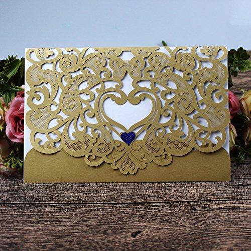 Papier-schnitt-kit (Hochzeit Einladung 50Stück eleva Laser geschnitten Hochzeit Einladungen Kit, mit blanko bedruckbar Papier und Umschläge Gold)